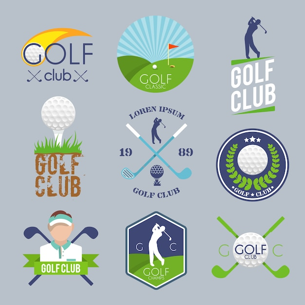 Set logo golf Vettore gratuito