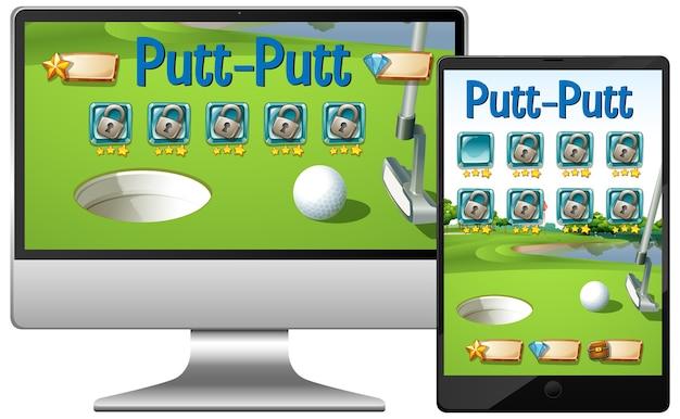 다양한 전자 기기 화면에서 골프 또는 퍼팅 퍼팅 게임 무료 벡터