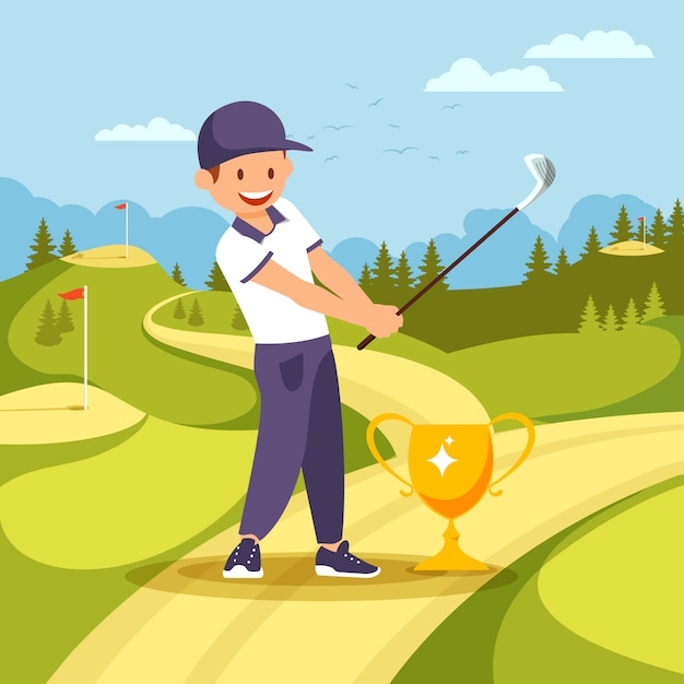 Golf player stand near goblet with club in hands. Premium Vector