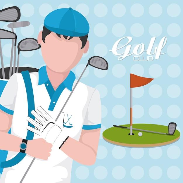 Golf player with club on camp cartoon Premium Vector