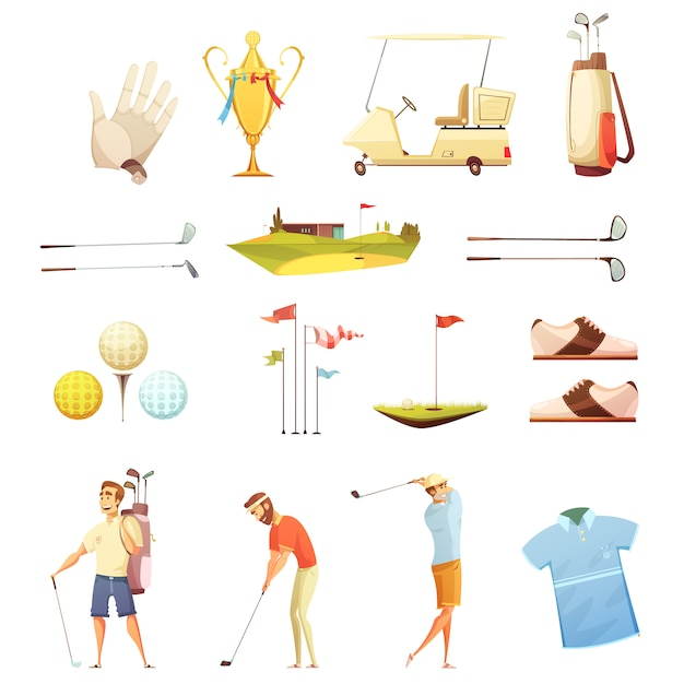 Golf players and accessories retro cartoon icons collection with putting flags gloves Free Vector