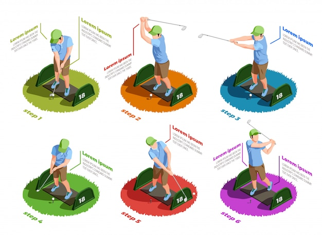 Golf players isometric isolated icons Free Vector