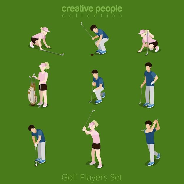 골프 선수 남성 여성 웹 infographic 개념 아이콘 세트. 창조적 인 사람들 컬렉션. 무료 벡터