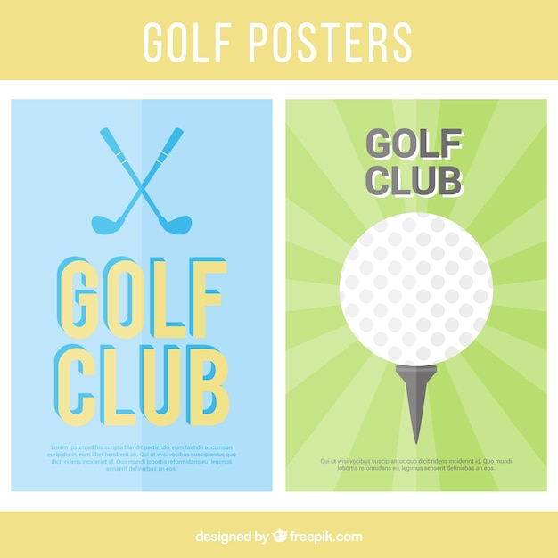 Golf posters collection Free Vector