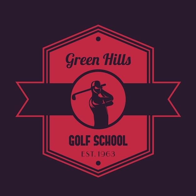 Golf school vintage logo, emblem with golfer swinging club Premium Vector