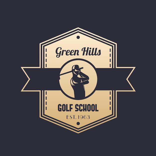 Урожай логотип школы гольфа с игроком в гольф Premium векторы