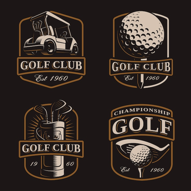 Гольф-набор со старинными логотипами, бейджами, эмблемами на темном фоне. текст находится на отдельном слое. Premium векторы