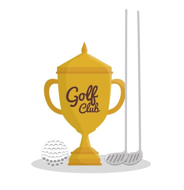 Golf sport trophy emblem icon vector illustration design Premium Vector