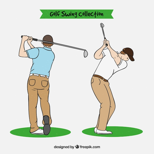 Golf swings collection in hand drawn\ style
