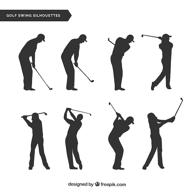 Golf swings collection with silhouette Free Vector