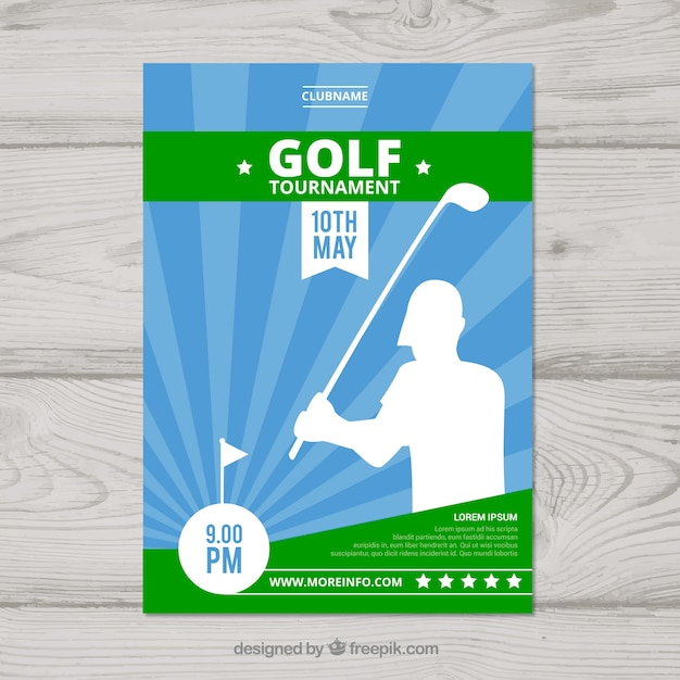 Golf Tournament Flyer In Flat Style Vector Free Download