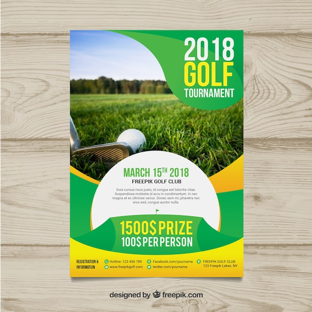 Golf tournament flyer in flat style Free Vector