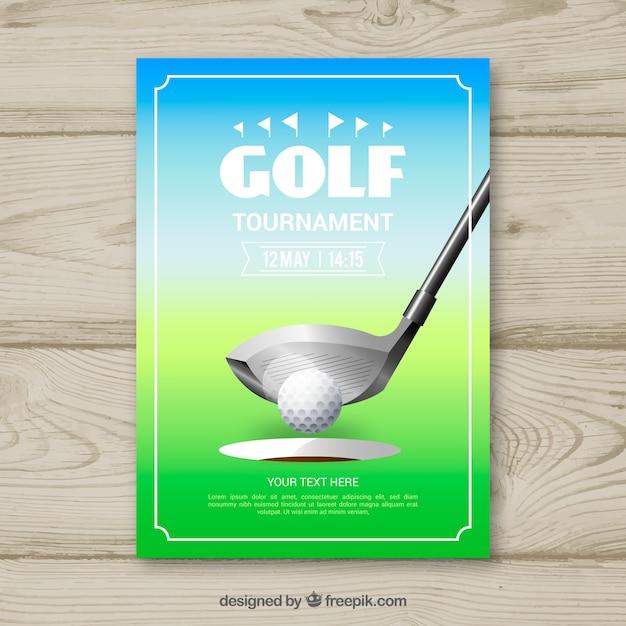 Golf tournament flyer with ball