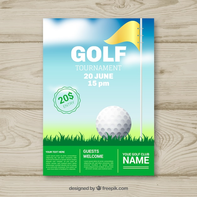 Golf tournament flyer with ball