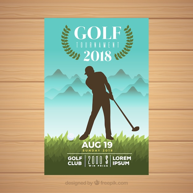 Golf tournament flyer with player