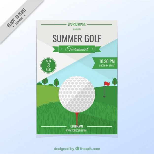 golf tournament flyer free vector