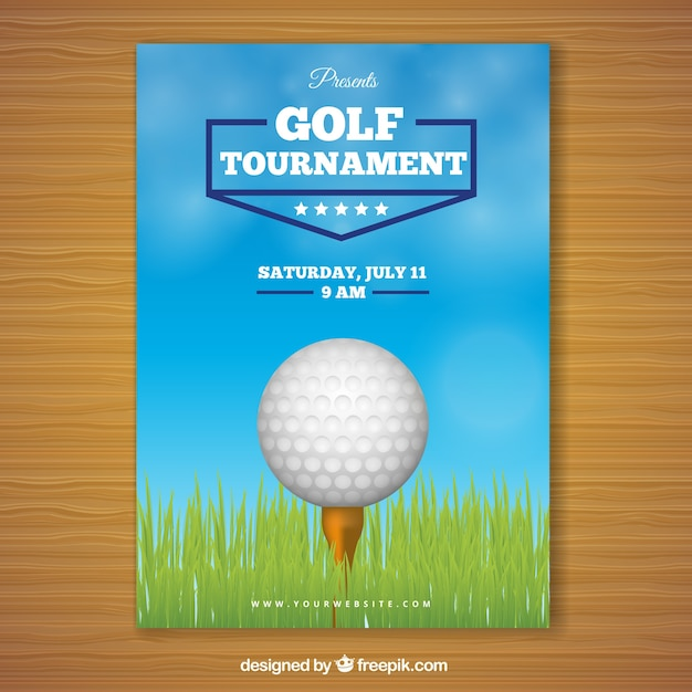 Golf tournament poster with ball in\ middle