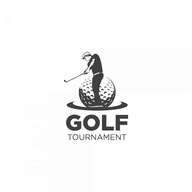 Golf tournament silhouette logo Premium Vector