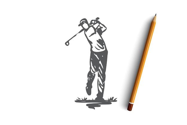 골프, 훈련, 휴식, 취미, 스포츠 개념. 손으로 그린 남자 편안한 재생 골프 개념 스케치. 삽화. 프리미엄 벡터