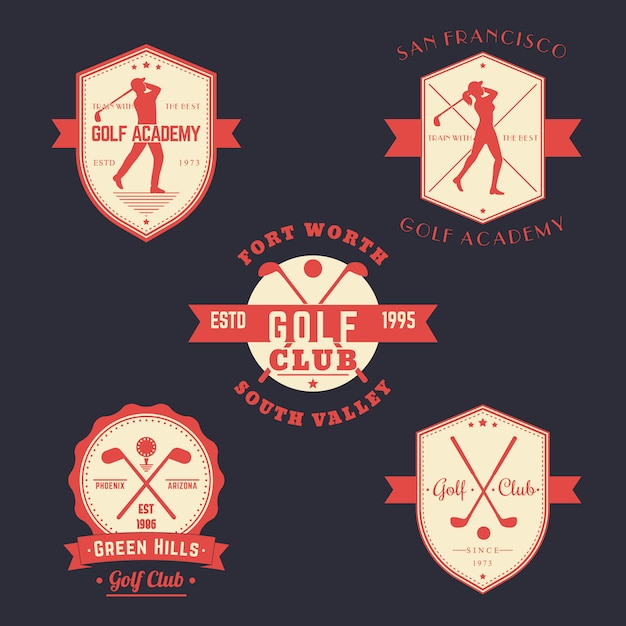 Golf vintage emblems, logos, badges set Premium Vector