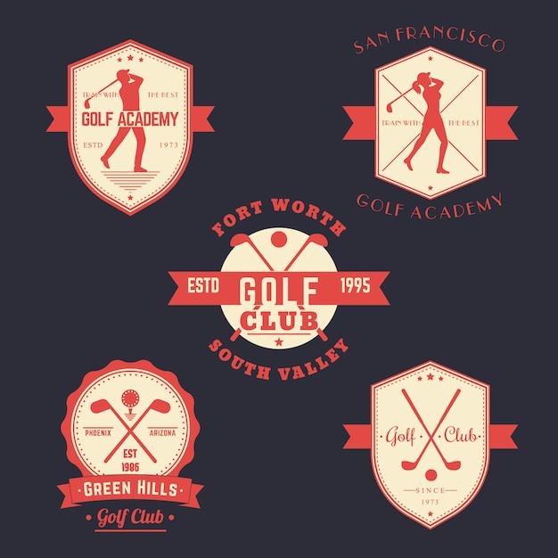 Гольф винтажные эмблемы, логотипы, значки Premium векторы