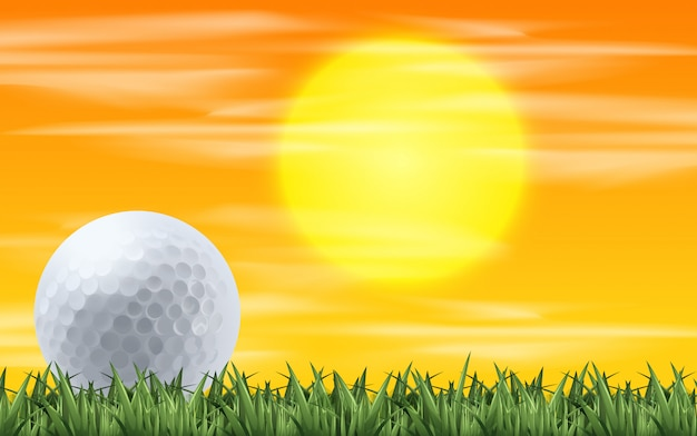 Golf with sunset view Free Vector
