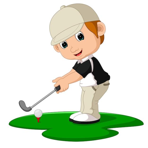 Golfer man cartoon Premium Vector