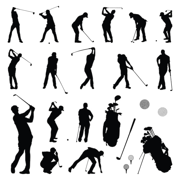 Golfer Play Golf Player Playing Silhouette Vector