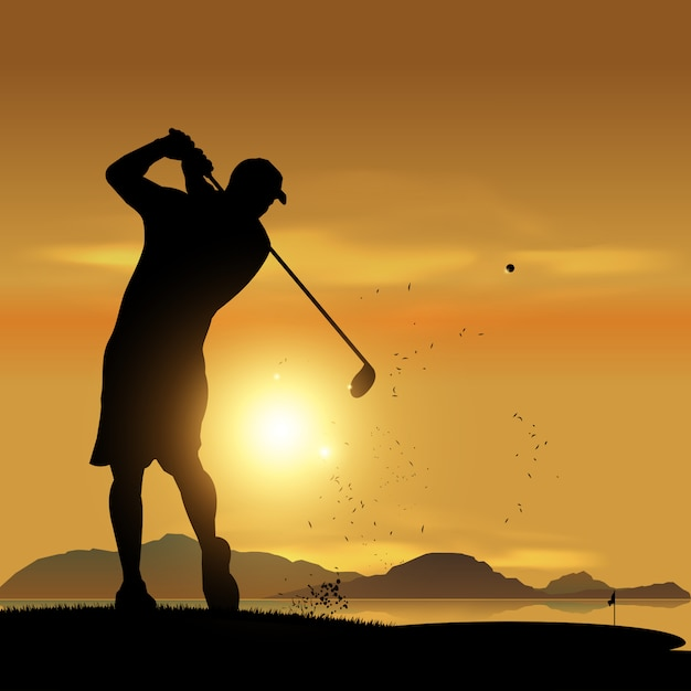Golfer silhouette at sunset Premium Vector