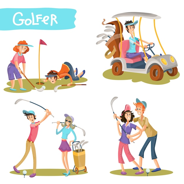 Golfers funny cartoon characters vector set