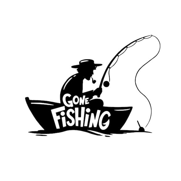 Исчезла рыбалка на инллюстратин. одинокий рыбак со спиннингом в лодке Premium векторы