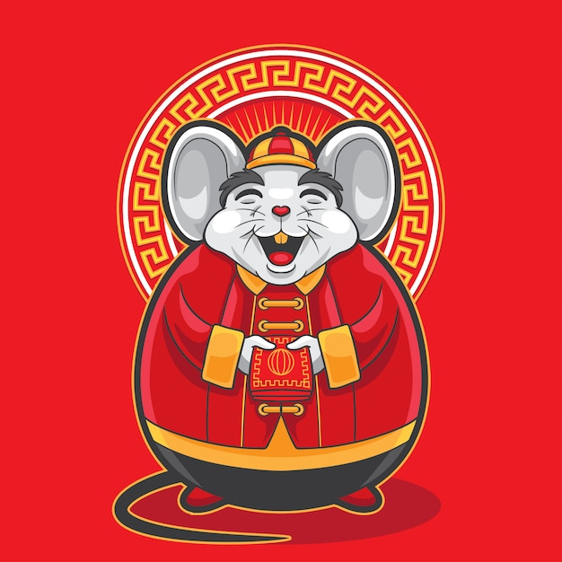 Gong xi fa cai big fat mouse holding red envelope Premium Vector