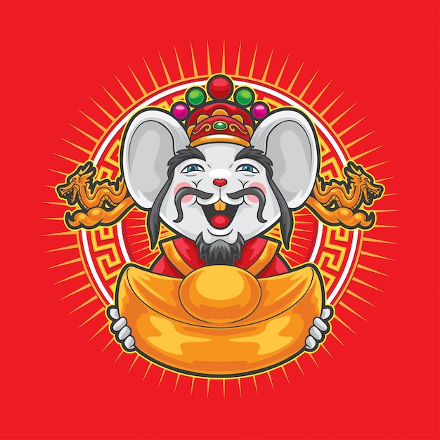 Gong xi fa cai mouse holding big gold money. Premium Vector