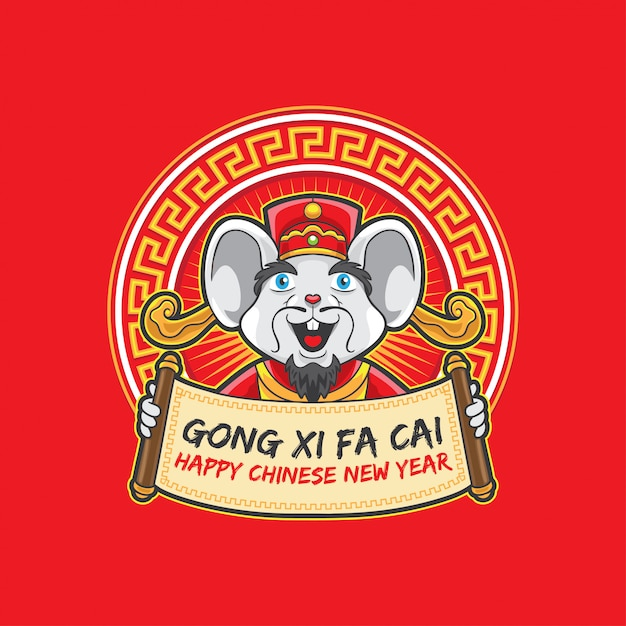 Gong xi fa cai old mouse holding greeting sign Premium Vector