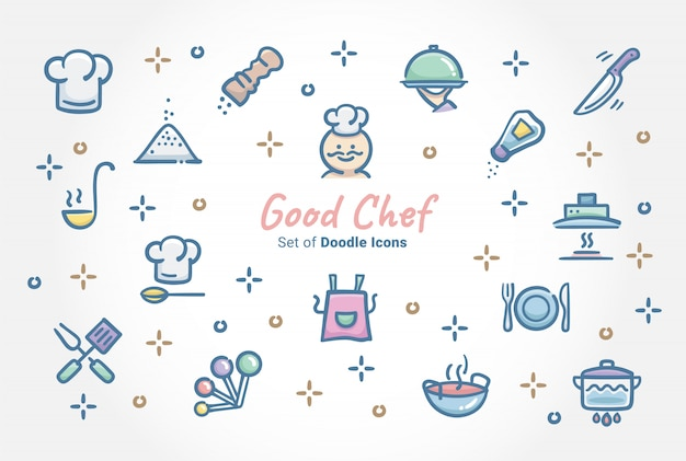 Good chef doodle icon set Premium Vector