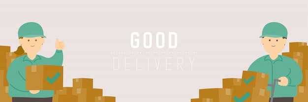 Хорошая доставка мужчина и женщина с коробкой товаров, социальные дистанции держать расстояние до защиты вспышка covid-19 оставаться дома интернет-магазины Premium векторы