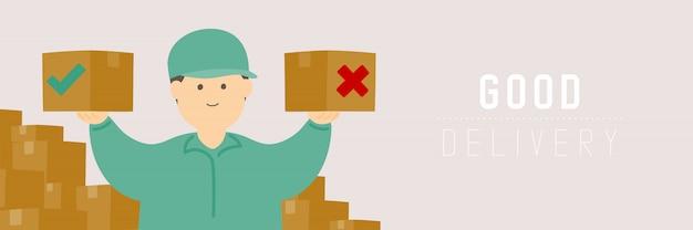 Хороший доставщик проверяет коробку товаров, социальные дистанции держатся на расстоянии от защиты. вспышка covid-19 остается дома. Premium векторы