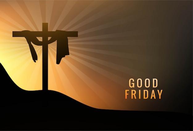 イエスのイラストと聖金曜日背景コンセプトクロス 無料ベクター