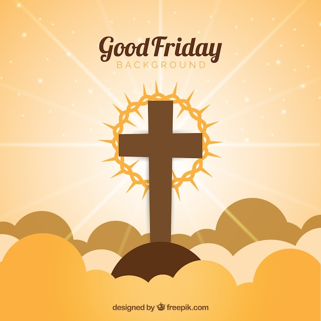 Good friday background with cross and crown of thorns Free Vector