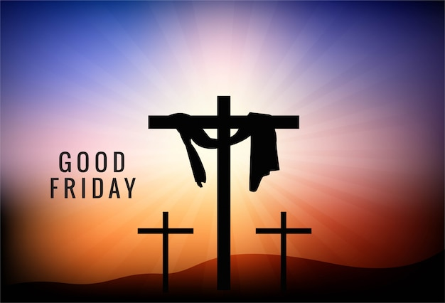Good friday background with cross and sun rays in the sky Free Vector