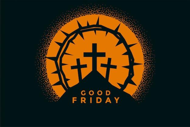 良い金曜日の背景に十字架、とげの冠 無料ベクター