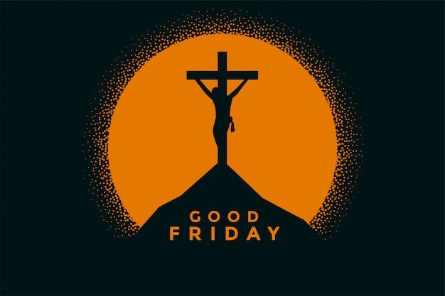 예수 그리스도의 십자가와 좋은 금요일 배경 무료 벡터
