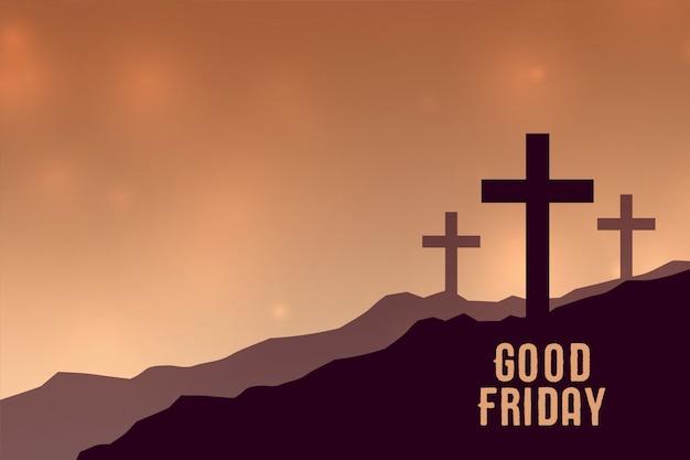 세 개의 십자가 기호 좋은 금요일 배경 무료 벡터