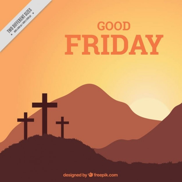 Good friday crosses and landscape background Free Vector