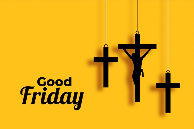Good friday and easter day cross background Free Vector