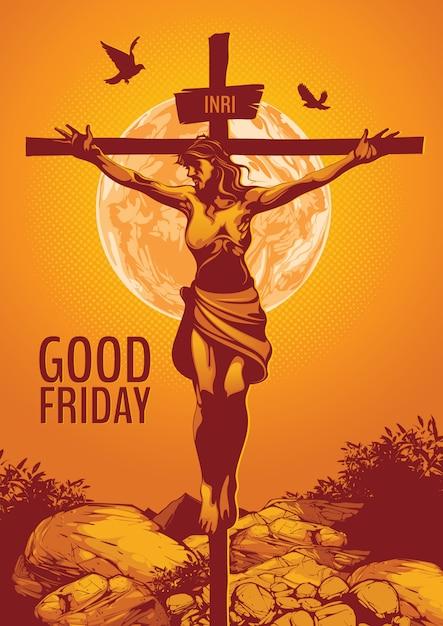 성 금요일, 예수 그리스도의 십자가의 그림. 프리미엄 벡터