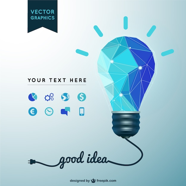 Good idea background with polygonal light bulb Free Vector