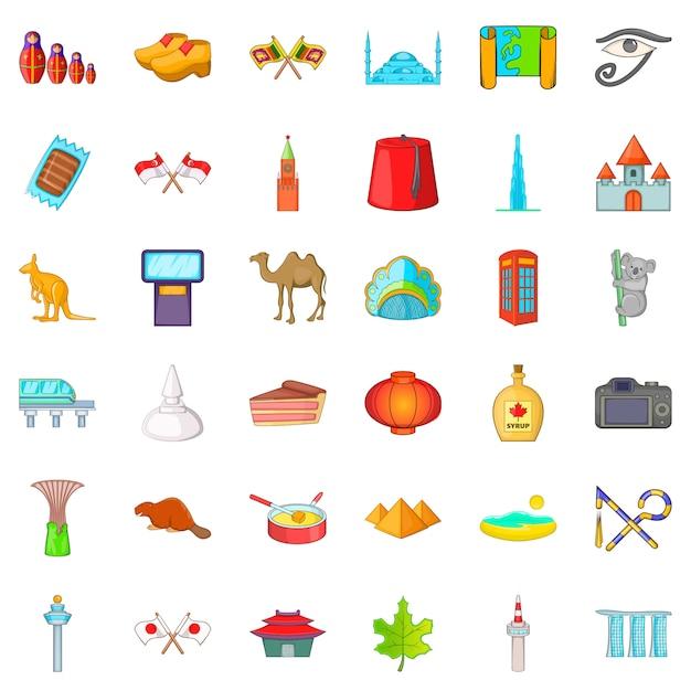 Good landmark icons set, cartoon style Premium Vector