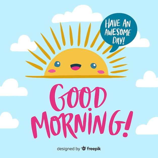 Good morning background lettering style Free Vector