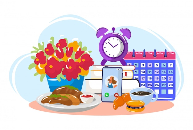 Good morning breakfast with online conversation, table fast food, isolated on white, flat vector illustration. stock book and calendar. Premium Vector